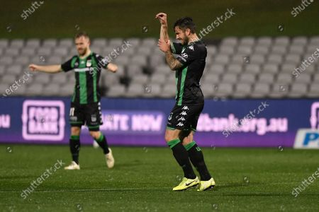 Josh Risdon of Western United celebrates his goal to make it 1-0 in the 6th minute; Jubilee Oval, Sydney, New South Wales, Australia; A League Football, Western United FC versus Western Sydney Wanderers.