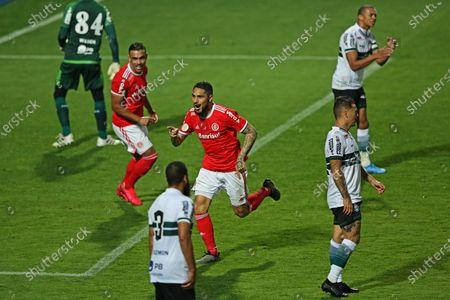 Paolo Guerrero of Internacional celebrates his goal in the 72th minute; i8th August 2020; Couto Pereira Stadium, Curitiba, Parana, Brazil; Brazilian Series A, Coritiba versus Internacional.