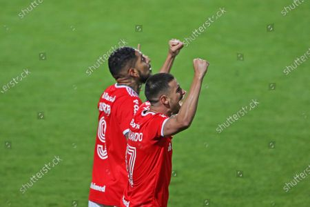 Paolo Guerrero of Internacional celebrates his goal with Thiago Galhardo in the 72th minute; i8th August 2020; Couto Pereira Stadium, Curitiba, Parana, Brazil; Brazilian Series A, Coritiba versus Internacional.