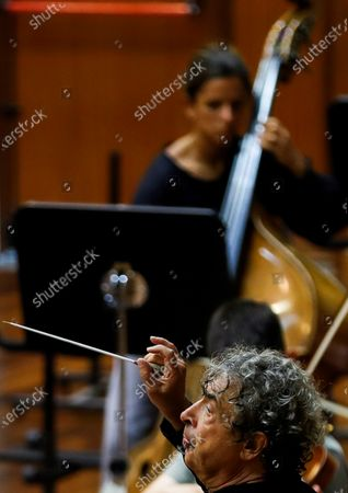 Russian conductor Semyon Bychkov during a rehearsal with the Euskadi Orchestra in San Sebastian, Spain, 06 August 2020, in preparation for his appearance in San Sebastian's Music Fortnight.