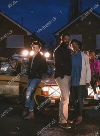Stock Image of Ike Bennett as Roman Donahue, Elijah Rowen as Zane, Adrian Lester as Simon Donahue, Andi Osho as Jenny Donahue and Jessye Romeo as Meg Donahue