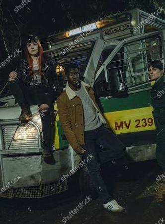 Aimèe-Ffion Edwards as Ruby Newman, Malachi Kirby as Michael Garwick and Phoebe Fox as Kaye Newman