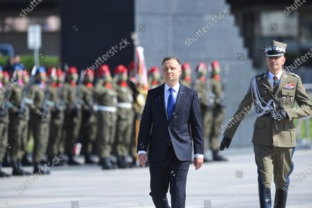 President of the Republic of Poland Andrzej Duda (C) during the ceremony of taking supreme command over the Polish Armed Forces as the Supreme Commander of the Republic of Poland at Pilsudski Square in Warsaw, Poland, 06 August 2020. Andrzej Duda begins his second term of office today. In the presidential election, Duda defeated Rafal Trzaskowski, the candidate of the Civic Coalition.