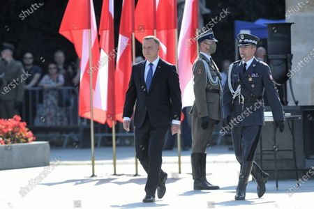 Stock Image of President of the Republic of Poland Andrzej Duda (C) during the ceremony of taking supreme command over the Polish Armed Forces as the Supreme Commander of the Republic of Poland at Pilsudski Square in Warsaw, Poland, 06 August 2020. Andrzej Duda begins his second term of office today. In the presidential election, Duda defeated Rafal Trzaskowski, the candidate of the Civic Coalition.