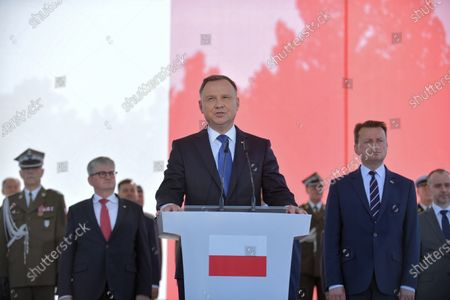 President of the Republic of Poland Andrzej Duda (C) delivers a speech during the ceremony of taking supreme command over the Polish Armed Forces  as the Supreme Commander of the Republic of Poland at Pilsudski Square in Warsaw, Poland, 06 August 2020. Andrzej Duda begins his second term of office today. In the presidential election, Duda defeated Rafal Trzaskowski, the candidate of the Civic Coalition.