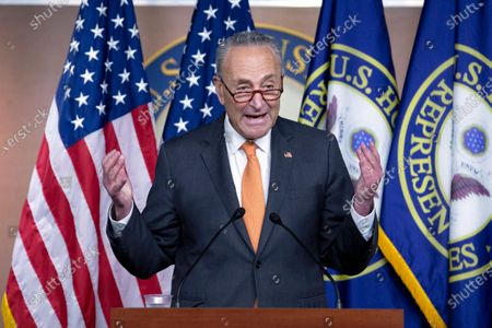 Senate Minority Leader Sen. Chuck Schumer of N.Y., speaks during a news conference on Capitol Hill in Washington