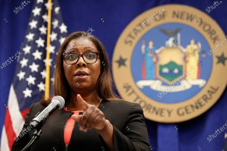 Stock Image of New York State Attorney General Letitia James takes a question after announcing that the state is suing the National Rifle Association during a press conference, in New York. James said that the state is seeking to put the powerful gun advocacy organization out of business over allegations that high-ranking executives diverted millions of dollars for lavish personal trips, no-show contracts for associates and other questionable expenditures