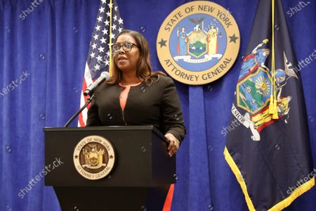 New York State Attorney General Letitia James announces that the state is suing the National Rifle Association during a press conference, in New York. James said that the state is seeking to put the powerful gun advocacy organization out of business over allegations that high-ranking executives diverted millions of dollars for lavish personal trips, no-show contracts for associates and other questionable expenditures