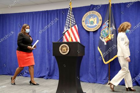 New York State Attorney General Letitia James, left, enters the room with Emily Stern, co-chief of the state's charities bureau enforcement section before announcing that the state is suing the National Rifle Association during a press conference, in New York. James said that the state is seeking to put the powerful gun advocacy organization out of business over allegations that high-ranking executives diverted millions of dollars for lavish personal trips, no-show contracts for associates and other questionable expenditures