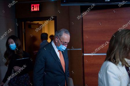 Editorial photo of Pelosi and  Schumer Coronavirus relief press conference, Washington DC, USA - 08 Aug 2020