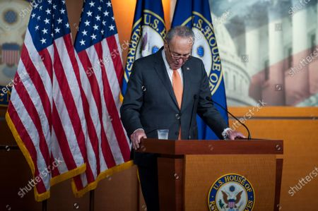 United States Senate Minority Leader Chuck Schumer (Democrat of New York), offers remarks as he is joined by Speaker of the US House of Representatives Nancy Pelosi (Democrat of California), for a press conference on the status of the COVID-19 economic stimulus package currently in negotiations with The White House and members of the GOP leadership, at the US Capitol in Washington, DC.,.