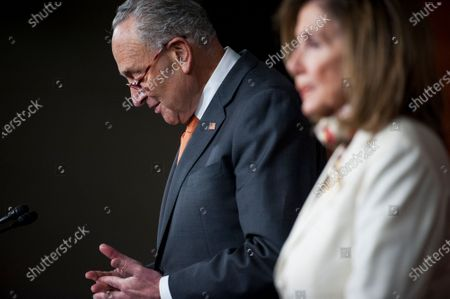 Speaker of the United States House of Representatives Nancy Pelosi (Democrat of California), right, and United States Senate Minority Leader Chuck Schumer (Democrat of New York), left, hold a press conference on the status of the COVID-19 economic stimulus package currently in negotiations with The White House and members of the GOP leadership, at the US Capitol in Washington, DC.,.