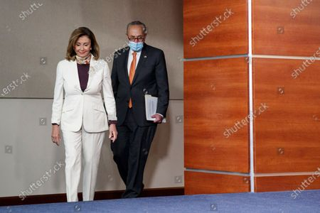 US Speaker of the House Nancy Pelosi (L) and Senate Minority Leader Democrat Chuck Schumer (R) arrive to a press conference on coronavirus stimulus relief legislation, on Capitol Hill in Washington, DC, USA, 06 August 2020. Negotiatons continue on coronavirus stimulus relief legislation, with the goal of a deal between Trump administration officials, Senate Rebublicans and Congressional Democratic leadership; as unemployment insurance for tens of millions of Americans has already expired.