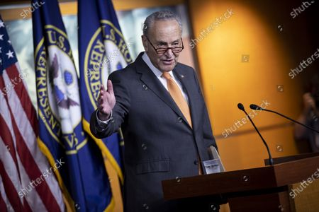 US Senate Minority Leader Democrat Chuck Schumer speaks during a press conference on coronavirus stimulus relief legislation, on Capitol Hill in Washington, DC, USA, 06 August 2020. Negotiatons continue on coronavirus stimulus relief legislation, with the goal of a deal between Trump administration officials, Senate Rebublicans and Congressional Democratic leadership; as unemployment insurance for tens of millions of Americans has already expired.