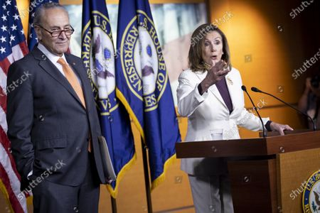 US Speaker of the House Nancy Pelosi and Senate Minority Leader Democrat Chuck Schumer participates in a press conference on coronavirus stimulus relief legislation, on Capitol Hill in Washington, DC, USA, 06 August 2020. Negotiatons continue on coronavirus stimulus relief legislation, with the goal of a deal between Trump administration officials, Senate Rebublicans and Congressional Democratic leadership; as unemployment insurance for tens of millions of Americans has already expired.