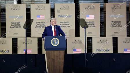 President Donald Trump speaks during an event at the Whirlpool Corporation Manufacturing Plant, in Clyde, Ohio