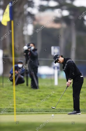 Ryo Ishikawa of Japan putts on the first  hole during the first round for the 2020 PGA Championship golf tournament at TPC Harding Park in San Francisco, California, USA, 06 August 2020. The competition will be played 06 August through 09 August with no fans in attendance.