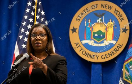 Stock Picture of New York Attorney General Letitia James speaks during a press conference where she announced a lawsuit against the National Rifle Association alleging that leaders of the organization engaged in illegal financial activity in New York, New York, USA, 06 August 2020. As part of the lawsuit, which names, among others, Executive Vice-President Wayne LaPierre, James is looking to have the NRA dissolved as an organization.
