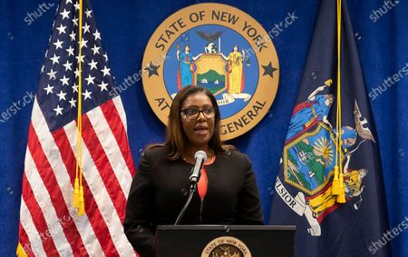 New York Attorney General Letitia James speaks during a press conference where she announced a lawsuit against the National Rifle Association alleging that leaders of the organization engaged in illegal financial activity in New York, New York, USA, 06 August 2020. As part of the lawsuit, which names, among others, Executive Vice-President Wayne LaPierre, James is looking to have the NRA dissolved as an organization.