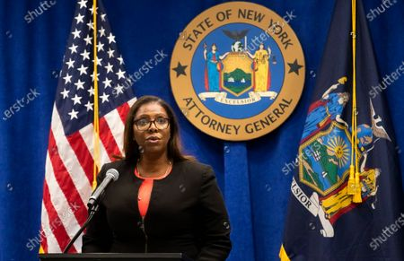 Stock Photo of New York Attorney General Letitia James speaks during a press conference where she announced a lawsuit against the National Rifle Association alleging that leaders of the organization engaged in illegal financial activity in New York, New York, USA, 06 August 2020. As part of the lawsuit, which names, among others, Executive Vice-President Wayne LaPierre, James is looking to have the NRA dissolved as an organization.