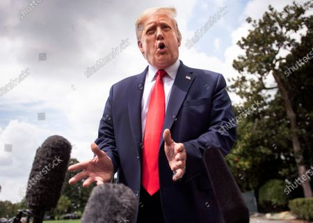 Stock Picture of United States President Donald J. Trump delivers remarks as he departs the White House to visit a Whirlpool corporation manufacturing plant in Ohio,, in Washington, DC.