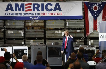 US President Donald Trump arrives to speak at the Whirlpool Corporation Manufacturing Plant in Clyde, Ohio, USA, 06 August 2020. Ohio Governor DeWine on 06 August 2020 announced he was tested positive for coronavirus, shortly before he was scheduled to meet US President Trump.