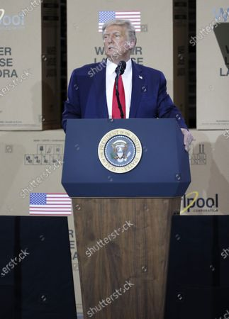 US President Donald J. Trump speaks at the Whirlpool Corporation Manufacturing Plant in Clyde, Ohio, USA, 06 August 2020. Ohio Governor DeWine on 06 August 2020 announced he was tested positive for coronavirus, shortly before he was scheduled to meet US President Trump.
