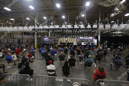 Stock Picture of People listen as US President Donald J. Trump speaks at the Whirlpool Corporation Manufacturing Plant in Clyde, Ohio, USA, 06 August 2020. Ohio Governor DeWine on 06 August 2020 announced he was tested positive for coronavirus, shortly before he was scheduled to meet US President Trump.