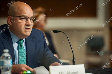 Jason Abend, of Virginia, appears before a Senate Committee on Armed Services hearing to examine his nomination to be Inspector General, in the Dirksen Senate Office Building on Capitol Hill in Washington, DC.,.