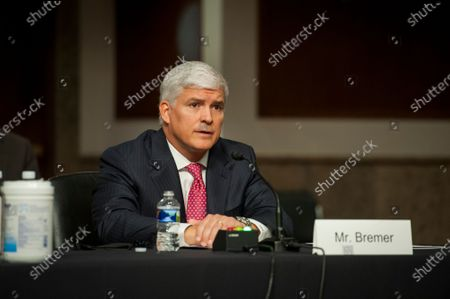 Stock Photo of Louis W. Bremer, of Connecticut appears before a Senate Committee on Armed Services hearing to examine his nomination to be Assistant Secretary, Department of Defense, in the Dirksen Senate Office Building on Capitol Hill in Washington, DC.,.