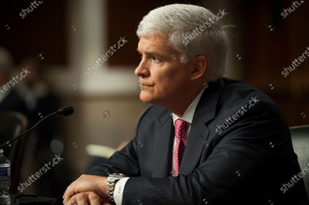 Stock Picture of Louis W. Bremer, of Connecticut appears before a Senate Committee on Armed Services hearing to examine his nomination to be Assistant Secretary, Department of Defense, in the Dirksen Senate Office Building on Capitol Hill in Washington, DC.,.