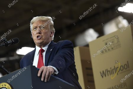 President Donald Trump speaks during an event at the Whirlpool Corporation facility in Clyde, Ohio, . Trump is in Ohio to promote the economic prosperity that much of the nation enjoyed before the coronavirus pandemic and try to make the case that he is best suited to rebuild a crippled economy