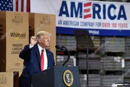 President Donald Trump speaks during an event at the Whirlpool Corporation facility in Clyde, Ohio