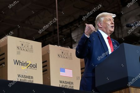 Stock Photo of President Donald Trump speaks during an event at the Whirlpool Corporation facility in Clyde, Ohio