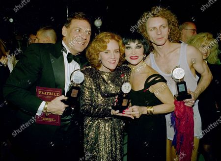 """Broadway's best actors, from left to right, Ron Leibman, Madeline Kahn, Chita Rivera and Brent Carver gather together to show off their Tony Awards backstage at the Gershwin Theater in New York following the presentation of the awards. Leibman won for his role in """"Angels In America,"""" Kahn for """"The Sisters Rosensweig,"""" Rivera for """"Kiss of the Spider Woman,"""" and Carver for """"Kiss of the Spider Woman."""" Award-winning Canadian stage actor Brent Carver died, in his birthplace of Cranbrook, British Columbia"""