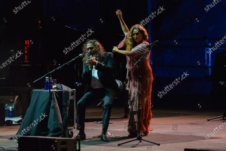 Stock Photo of Spanish flamenco singers Estrella Morente (R) and Diego 'El Cigala' (L) perform on stage during their concert at the Starlite Festival in Marbella, Malaga, Spain, 06 August 2020.