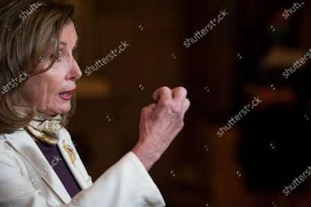 Speaker of the United States House of Representatives Nancy Pelosi (Democrat of California) talks with reporters following a meeting with US Senate Minority Leader Chuck Schumer (Democrat of New York, White House Chief of Staff Mark Meadows, and US Secretary of the Treasury Steven T. Mnuchin regarding the COVID-19 economic stimulus package deal which lasted over three hours at the US Capitol in Washington, DC.,.
