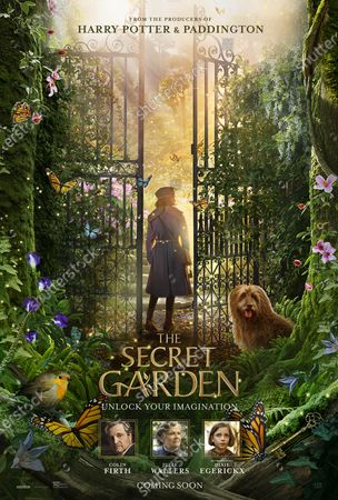 The Secret Garden (2020) Poster Art. Colin Firth as Lord Archibald Craven, Julie Walters as Mrs. Medlock and Dixie Egerickx as Mary Lennox