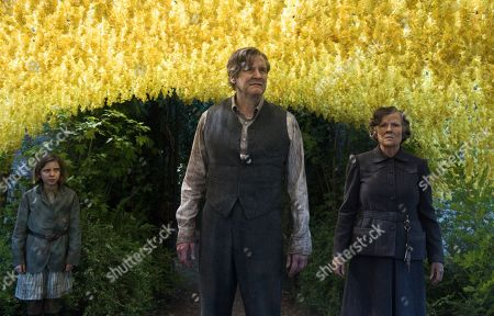 Stock Photo of Dixie Egerickx as Mary Lennox, Colin Firth as Lord Archibald Craven and Julie Walters as Mrs. Medlock