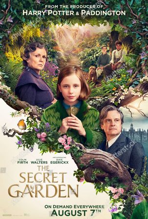 Stock Image of The Secret Garden (2020) Poster Art. Julie Walters as Mrs. Medlock, Dixie Egerickx as Mary Lennox, Edan Hayhurst as Colin Craven, Amir Wilson as Dickon and Colin Firth as Lord Archibald Craven