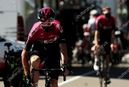 Britain's Christopher Froome of Team Ineos wears a protective face mask prior to the 1st stage of the Tour de l'Ain cycling race over 139.5km between Montreal-La-Cluse and Ceyzeriat, France, 07 August 2020.
