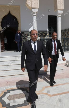 Stock Image of Tunisia's Prime Minister-designate Hichem Mechichi before consultations as part of the formation of the next government in Tunis, Tunisia, 07 August 2020.The designated head of government, Hichem Mechichi, is continuing the consultations within the framework of the formation of the next government. He will talk to the former heads of government, Hamadi Jebali, Ali Laarayedh, Habib Essid and Youssef Chahed. According to article 89 of the Constitution, the personality who will be tasked with forming the next government will have one month to train his team and present it to the Assembly of People's Representatives, the deadline of 25 August 2020.