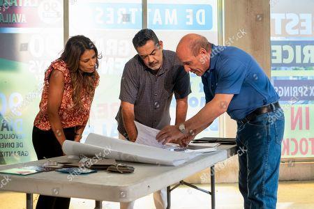Stock Image of Lisa Vidal as Mari Garcia, Carlos Gomez as Rafael Garcia and Paul Ben-Victor as Contractor