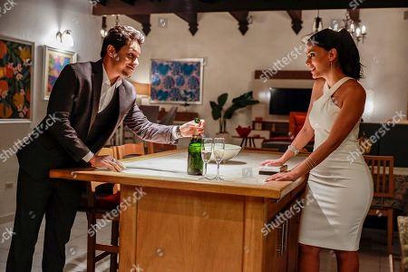 Stock Picture of David Del Rio as Mateo Garcia and Michelle Veintimilla as Vanessa Sanchez
