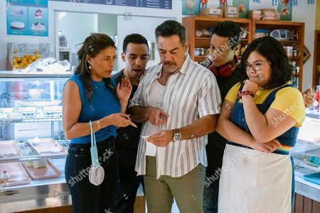 Stock Picture of Lisa Vidal as Mari Garcia, Victor Rasuk as Daniel Garcia, Carlos Gomez as Rafael Garcia, David Del Rio as Mateo Garcia and Belissa Escobedo as Natalie Garcia