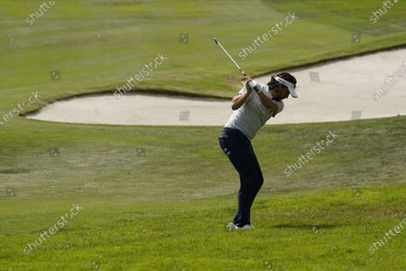 Mike Lorenzo-Vera, of France, hits from the rough on the 15th hole during the second round of the PGA Championship golf tournament at TPC Harding Park, in San Francisco