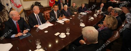 In this file photo, United States President Barack Obama makes a statement during a meeting with present administration officials and former Secrtaries of State and Defense in the Roosevelt Room of the White House. From left to right: James A. Baker III, former US Secretary of State; US Vice President Joseph Biden; President Obama; Henry Kissinger, former US Secretary of State; General James Cartwright, Vice Chairman Joint Chiefs of Staff; Madeleine Albright, former US Secretary of State; Brent Scowcroft, former National Security Advisor; William Perry, former US Secretary of Defense; US Senator John Kerry (Democrat of Massachusetts); US Secretary of State Hillary Rodham Clinton; and US Senator Richard Lugar (Republican of Indiana)..