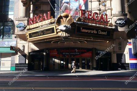 Stock Image of A Regal Cinemas movie theater is temporarily closed during the coronavirus pandemic in New York on . Regal movie theaters have been closed for almost five months in the U.S. due to the coronavirus pandemic, but they are gearing up to open on Aug. 21
