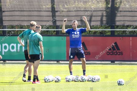 Robin van Persie (R) with Nicolai Jorgensen and Robert Bozenik at the Feyenoord's training complex in Rotterdam, the Netherlands, 07 August 2020. Van Persie, former player of the club, will join the Feyenoord technical staff for the 2020-2021 season and will train the strikers.
