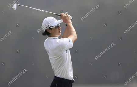 Ryo Ishikawa of Japan hits his tee shot on the seventeenth hole during the second round of the 2020 PGA Championship golf tournament at TPC Harding Park in San Francisco, California, USA, 07 August 2020. The competition will be played 06 August through 09 August with no fans in attendance.